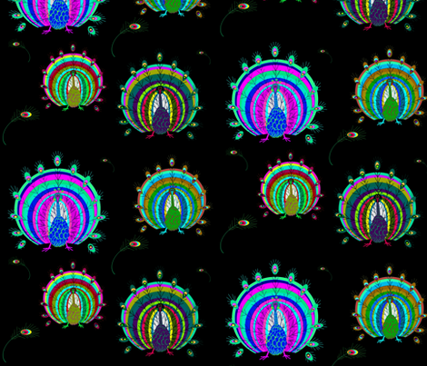Peacock fabric by retroretro on Spoonflower - custom fabric