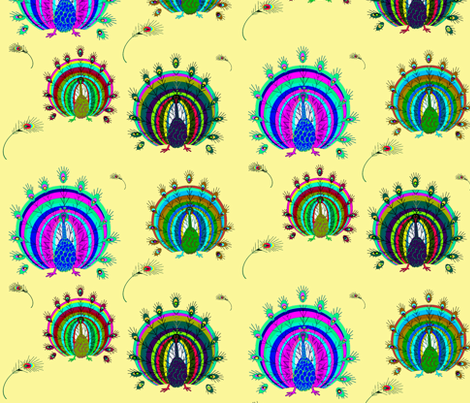Peacock2 fabric by retroretro on Spoonflower - custom fabric