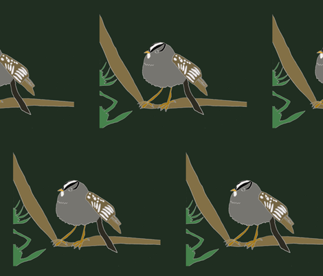 White Crowned Sparrow fabric by heartfullofbirds on Spoonflower - custom fabric