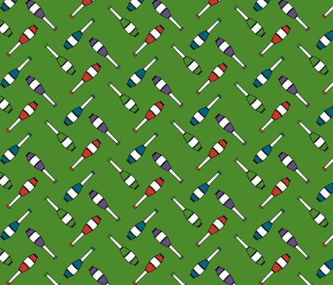 Juggling Clubs Green fabric by evenspor on Spoonflower - custom fabric