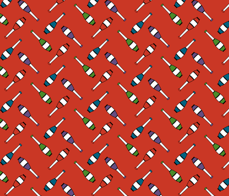 Juggling Clubs Red fabric by evenspor on Spoonflower - custom fabric