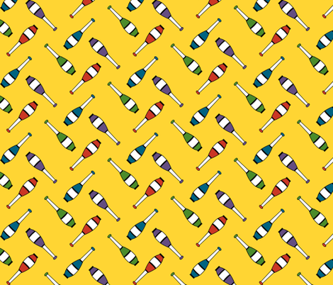 Juggling Clubs Yellow fabric by evenspor on Spoonflower - custom fabric