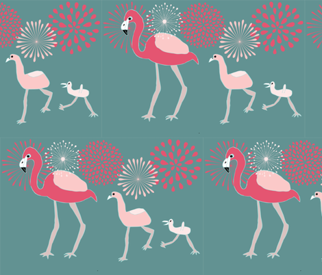 Flamingo Family 2 fabric by heartfullofbirds on Spoonflower - custom fabric