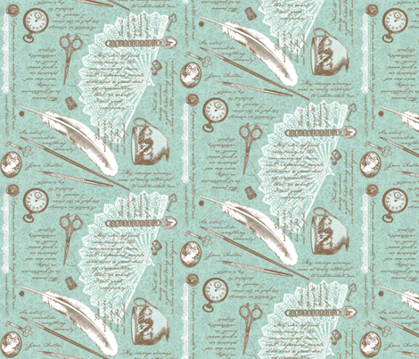 Jane Austen NOTIONS-small fabric by amazinart on Spoonflower - custom fabric