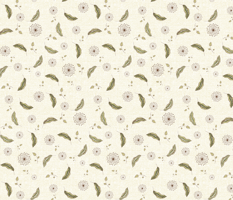 leaves natural fabric by kerryn on Spoonflower - custom fabric