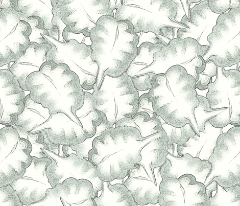 monochrome_leaves_seamless fabric by bluewrendesigns on Spoonflower - custom fabric