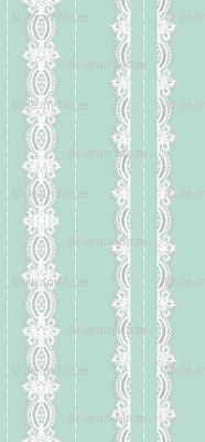 Lace and Stitching Stripes Aqua