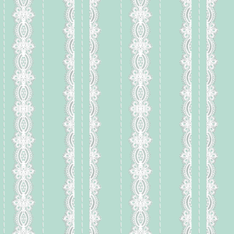 Lace and Stitching Stripes Aqua fabric by amazinart on Spoonflower - custom fabric