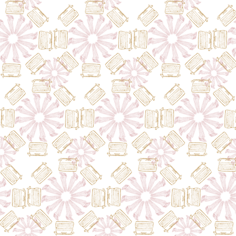 typewriter_flower_-_pink_and_yellow fabric by maglicjb on Spoonflower - custom fabric