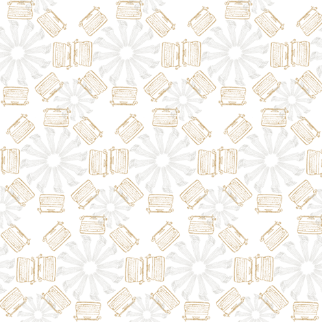 typewriter_flower_-_yellow_and_gray fabric by maglicjb on Spoonflower - custom fabric
