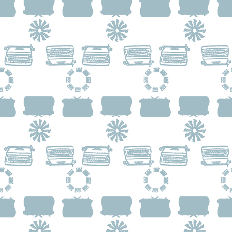 typewriter_stripe_4_objects_lightblue fabric by maglicjb on Spoonflower - custom fabric