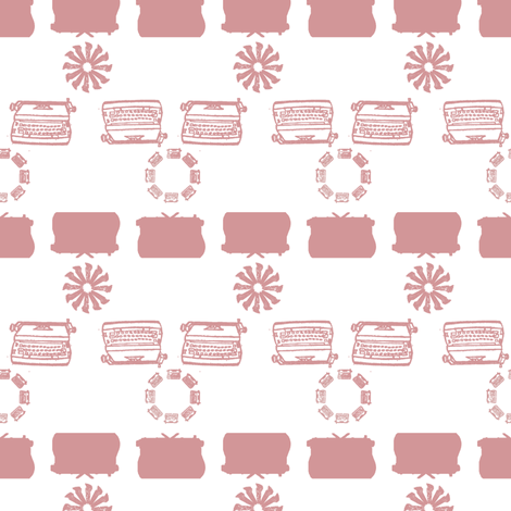 typewriter_stripe_4_objects_pink fabric by maglicjb on Spoonflower - custom fabric