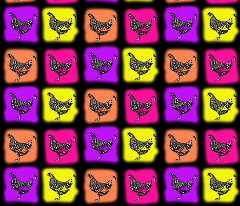 neon chickens fabric by lilmunter on Spoonflower - custom fabric