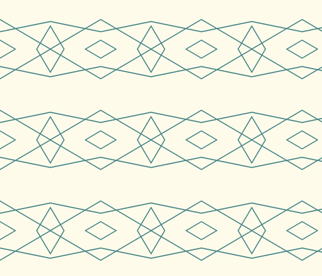 Teal on Cream Geometric fabric by bettinablue_designs on Spoonflower - custom fabric