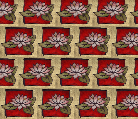 oriental_lily_on_red fabric by dsa_designs on Spoonflower - custom fabric