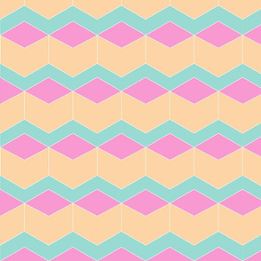 Block Chevron Peach & Pink