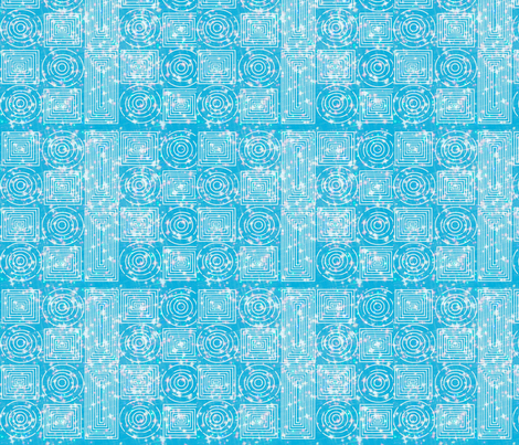 color me white on aqua spirals sparkle fabric by vos_designs on Spoonflower - custom fabric