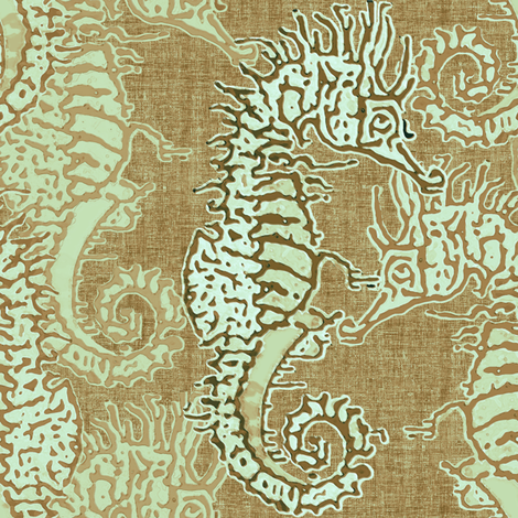 Seahorse Weathered Dune fabric by joanmclemore on Spoonflower - custom fabric