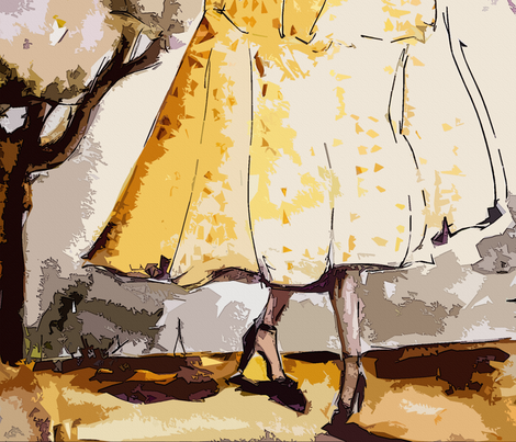 Parisienne Vintage Fashion Femme fabric by ginette on Spoonflower - custom fabric