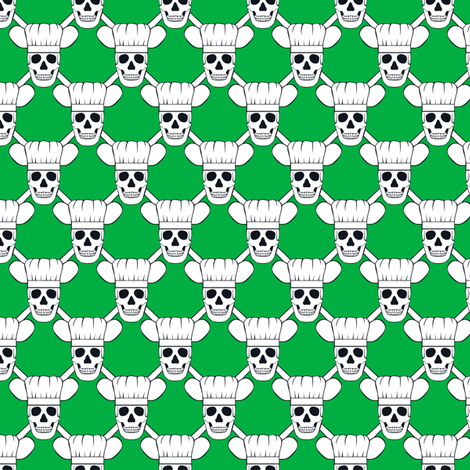 Chef Skull Small- Green fabric by shala on Spoonflower - custom fabric