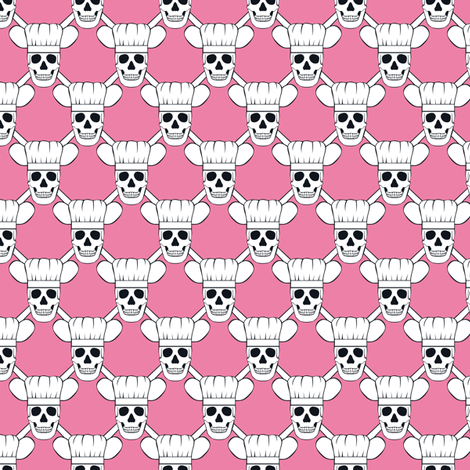 Chef Skull Small-Pink fabric by shala on Spoonflower - custom fabric