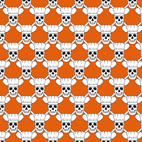 Chef Skull Small-Orange fabric by shala on Spoonflower - custom fabric