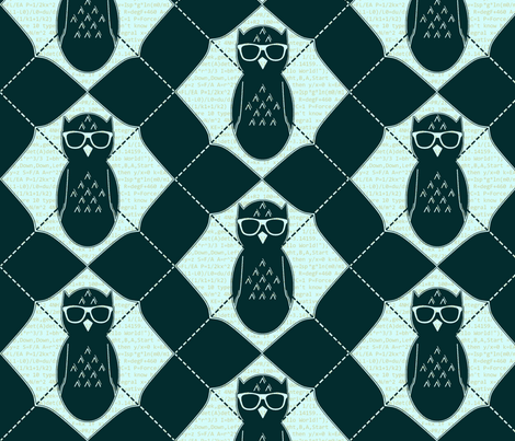 Equation Owl Chevron Invert fabric by spikymammal on Spoonflower - custom fabric