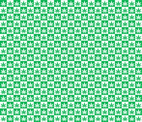 Hemp Leaf Checkerboard fabric by shala on Spoonflower - custom fabric