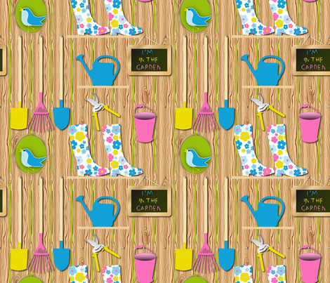 I'm In the garden (dark) fabric by vannina on Spoonflower - custom fabric