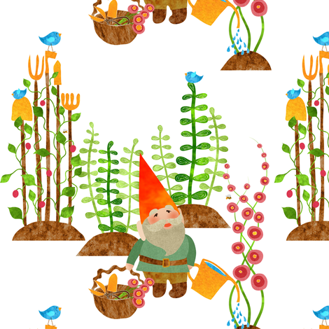 A gnome without his gardening tools isn't home without his shovel, pitchfork, hoe, spade, rake, shears, trowel, watering can, basket, bees,and birds to sow the seeds fabric by vo_aka_virginiao on Spoonflower - custom fabric