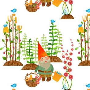 A gnome without his gardening tools isn't home without his shovel, pitchfork, hoe, spade, rake, shears, trowel, watering can, basket, bees,and birds to sow the seeds