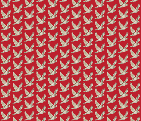 Parisian  Dove french country red fabric by karenharveycox on Spoonflower - custom fabric