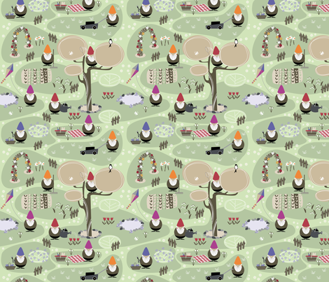 My garden gnomes are very busy! fabric by zapi on Spoonflower - custom fabric