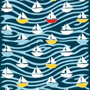 Regatta 2 - white, yellow, blues, & one red boat