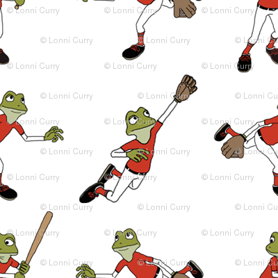 Toon Frogs Playing Baseball