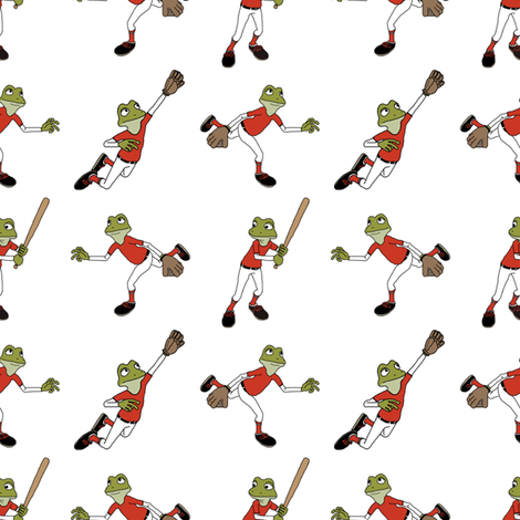 Toon Frogs Playing Baseball fabric by barbie4364 on Spoonflower - custom fabric
