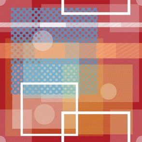 Red Orange Blue White Square Pattern Design