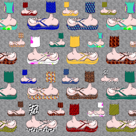 Feet with their BFF's ~ Flip-Flops! (gray) fabric by amy_g on Spoonflower - custom fabric