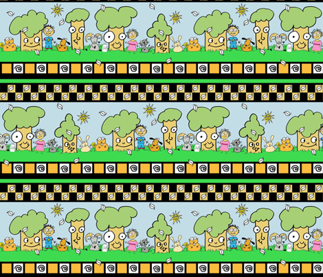 Tree border with friends! fabric by joojoostrees on Spoonflower - custom fabric
