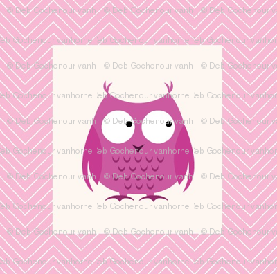 chevron_pink owl mini cheater quilt