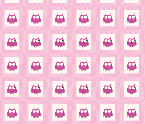 chevron_pink owl mini cheater quilt fabric by vos_designs on Spoonflower - custom fabric