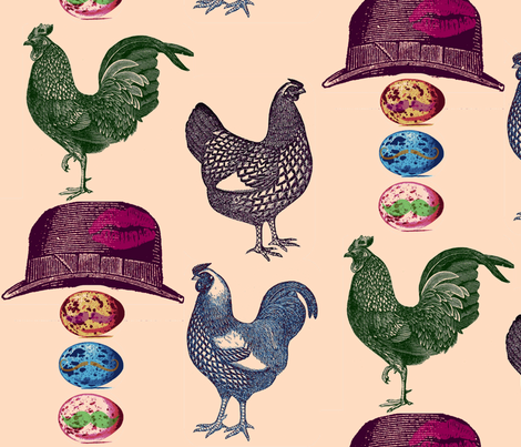pop art  chickens & mustache eggs fabric by walkwithmagistudio on Spoonflower - custom fabric