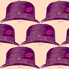 purple fedora with a kiss