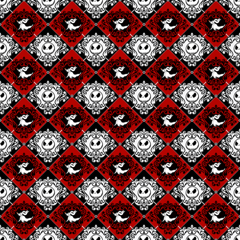 Jack Damask Red Nightmare Before Christmas fabric by kyatastic on Spoonflower - custom fabric