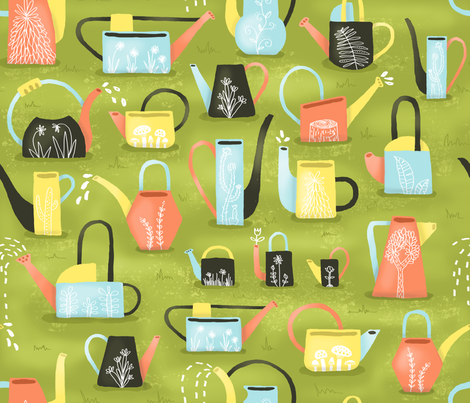 Watering Cans fabric by elizabethdoyle on Spoonflower - custom fabric