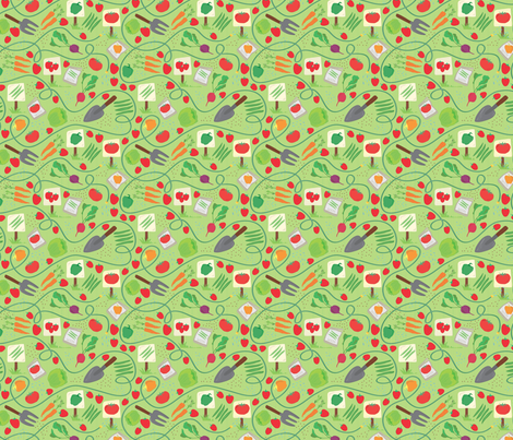 Gardening Greens fabric by adrianne_adelle on Spoonflower - custom fabric
