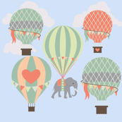 Whimsical Elephants Riding Hot Air Balloons