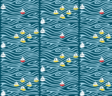 Sailing at the lake - vector - white yellow blues, with one red boat fabric by mina on Spoonflower - custom fabric