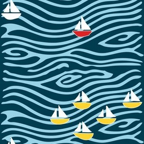 Sailing at the lake - vector - white yellow blues, with one red boat