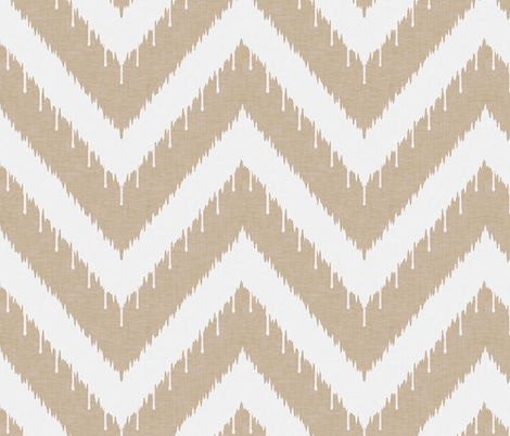 Khaki Beaded Ikat Chevron fabric by willowlanetextiles on Spoonflower - custom fabric